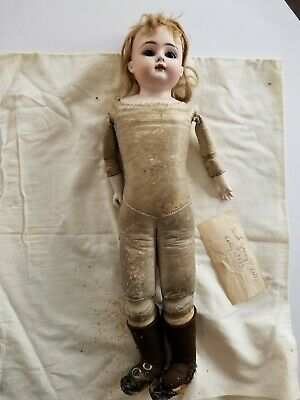 "Late 1800's Antique German Bisque Doll No Markings Brown eyes 16.5"" Leather Body"