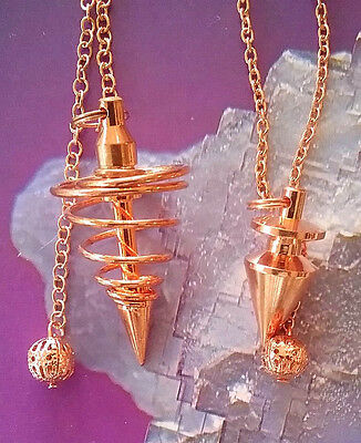 2 Large Solid Copper Vortex & Point Dowsing Pendulum With 2 Pouches, Divination