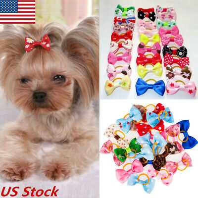 20Pcs Assorted Hair Bows For Small Dog Cat Pet Puppy Bowknots Grooming Accessory