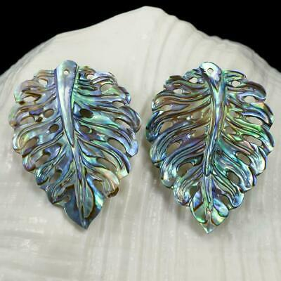 Multicolor Paua Abalone Shell Iridescent Carved Monstera Leaf Earring Pair 2.74g
