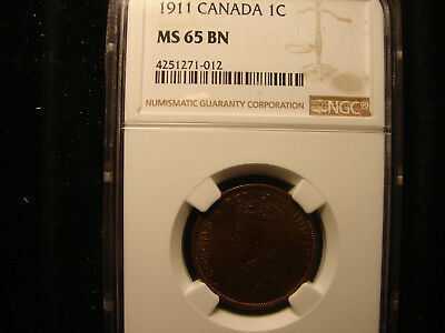 1911 Canada Large Cent Graded by NGC as MS65 BN, as pictured.