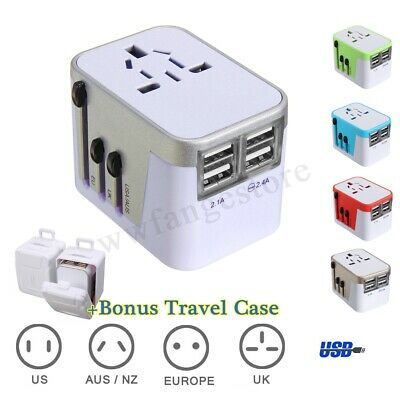 Universal Travel Adapter AC Power 4 USB Converter Charger For AU EUROPE USA UK