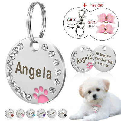 Rhinestone Personalized Dog Tags Paw Round Dogs ID Name Tags Free Gift Hair Bows