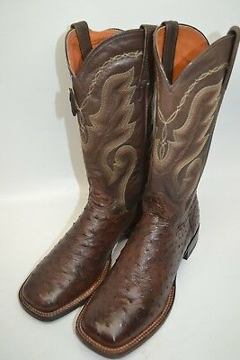 991f5e1b9c6 DAN POST FULL Quill Ostrich Leather Cowboy Western Boots Brown Men's ...