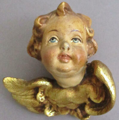 "Vintage Small 4"" Hand Carved + HP Wood Winged CHERUB Angel GOLD Leaf * ITALY"