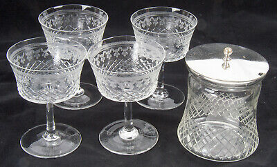 Hardy Bros. Set of Glasses and Silver Plated Jam Jar