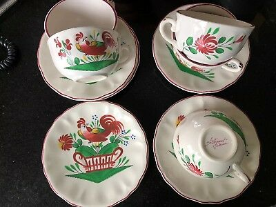 Strasbourg French Faience  1940  5 Large Cup & 4 Saucers Rooster 🐔 Hand Painted