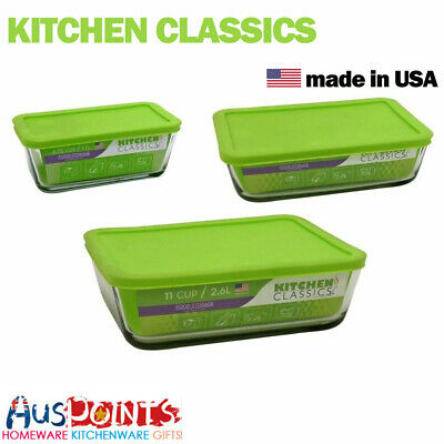New Kitchen Classics Rectangular Glass Container w/ Green Lid Food Lunch Box