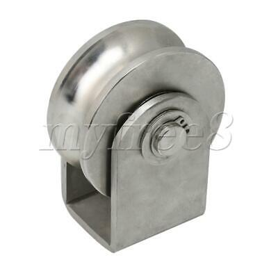 73mm Dia Stainless Steel U Type Rail Fixed Rigid Wheel Pulley for Pipe Track