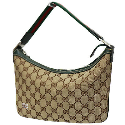 Gucci Original Gg Toile Rayure Sac à Main Marron Italie Vintage Authentiques 809fe9d7f7d