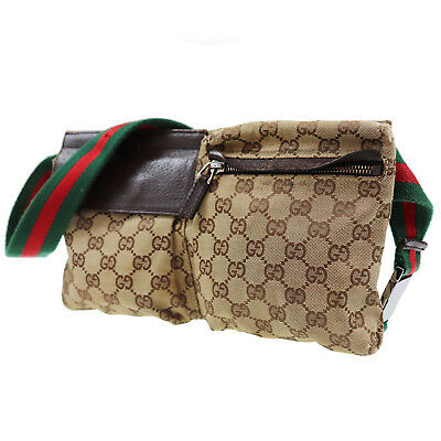 Gucci Original Toile Rayure Sac Banane Brun Italie Vintage Authentique   O647 W 4bfc32a7dfd