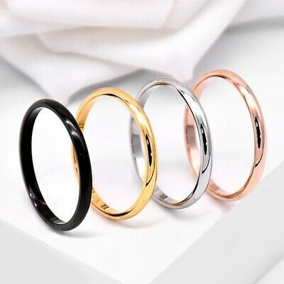2mm Thin Stackable Ring Stainless Steel Plain Band for Women Girl Size 3-12