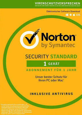 Symantec Norton Security 3.0 2017 Standard 1 Gerät PC Mac Android Download