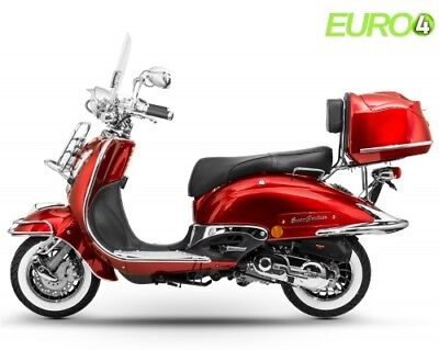 Motorroller Retro Roller Scooter 50 CCM - 45 KmH EASYCRUISER CHROMEDITION ROT E4