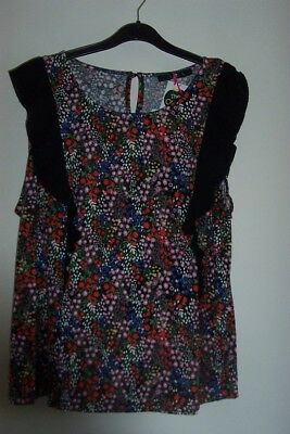 Stunning Ladies Black Multi Print Frill Detail Top Size 24 By Very