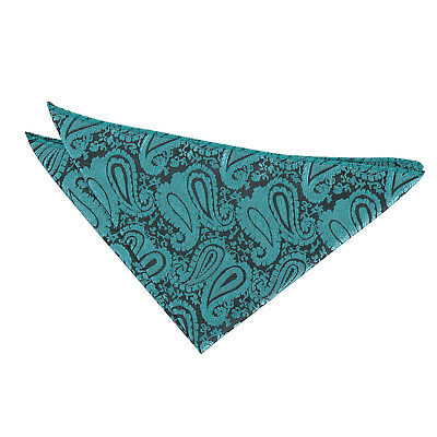 DQT Woven Floral Paisley Teal Formal Handkerchief Hanky Pocket Square