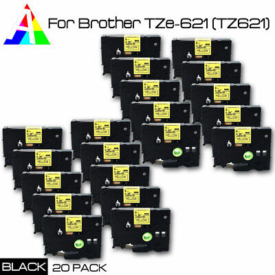 """20PK TZe 621 Black on Yellow Label Tape for Brother P-Touch TZ-621 PT-D450 3/8"""""""