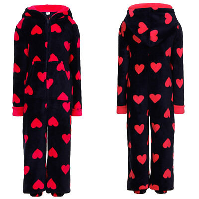 Nifty Kids Heart Print Hooded All In One Girls Soft Fleece One Piece Sleepsuit