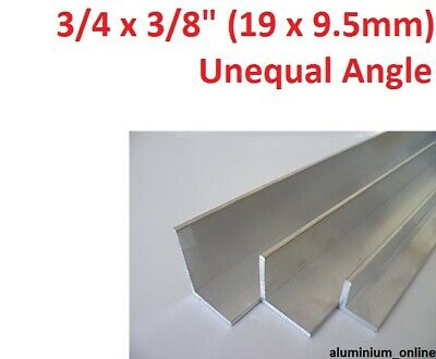 ALUMINIUM UNEQUAL ANGLE 3/4 x 3/8 (19mm x 9.5mm), lengths 100mm to 2.500mm