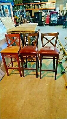 5 x Wooden Bar/Breakfast Stools With Leather Pads (3 Maroon,1 Red And 1 Orange