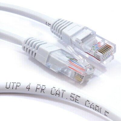 White Network Ethernet RJ45 Cat5E-CCA UTP PATCH 26AWG Cable Lead  1.5m