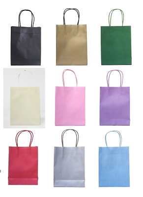 Pack of 15 x Paper Handled Gift Party Bags Plain Colours Eco Friendly Recyclable