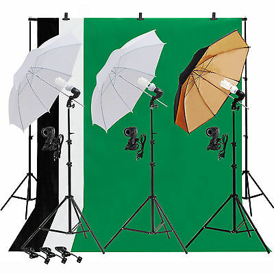 Photo Studio Lighting Photography Light Kit 3 Backdrop Stand Muslin Umbrella Set