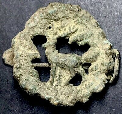 Very Rare Type - Zoomorphic (Stag) Ancient Imperial Roman Fibula Brooch.