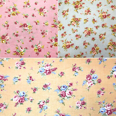 100% Cotton Corduroy Fabric Small Rose Bunches Floral Flower Cord