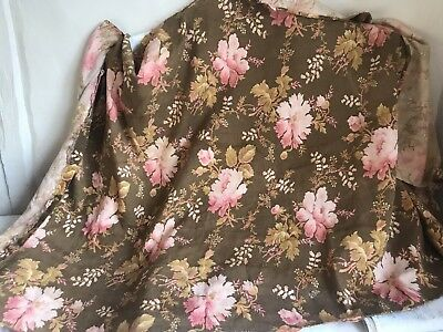 """Vintage French Fabric Cretonne Brown Yellow & Pink Floral Interiors Textile /64"""""""