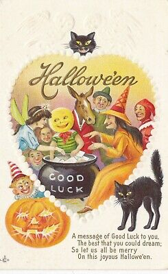 Halloween,c 1910,with Witch at Cauldron and Guests,Black Cat & Pumpkin,Embossed