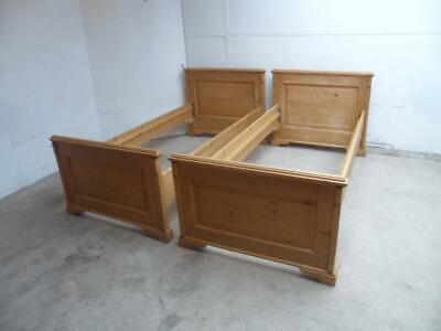 A Lovely Pair of Antique/Old Pine Waxed Standard Single Beds