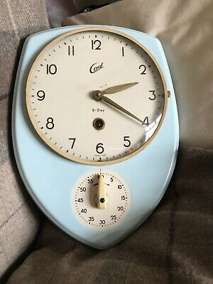 Original Vintage Coral Kitchen Clock In Baby Blue And Timer With Winder Key