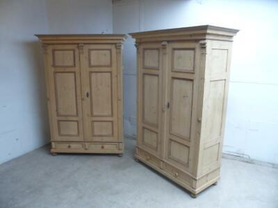 A Rarest Pair of Victorian Antique/Old Pine Knockdown Wardrobes to Wax/Paint