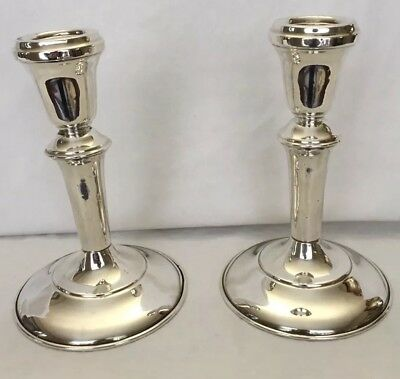 """Carl Poul Petersen Sterling Silver Candlesticks 5-3/5"""" Montreal"""