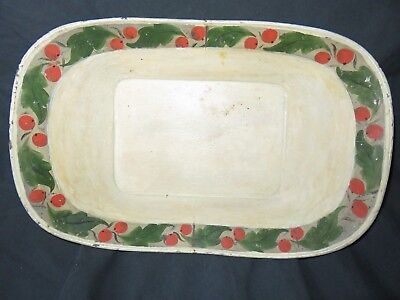 ANTIQUE AMERICAN TOLE BREAD FRUIT TRAY - Paint Decorated - 19th C - Folk Art