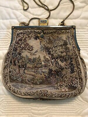 Rare Antique Tapestry French Petit Point Purse Countryside Enamel Bird Victorian