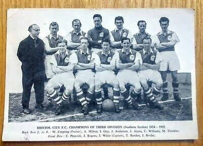 BRISTOL CITY FC CHAMPIONS OF THIRD DIV 1954-55 photo postcard + Georges beer ad