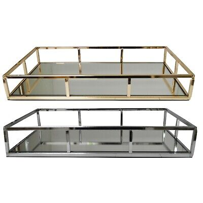Gold / Silver Metal Dressing Table Rectangular Tray with Mirror Glass Base