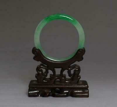 Perfect Chinese Carved Natural Jadeite Bracelet Bangle 5.8Cm (517)