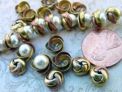 Vintage 5 x 9mm Aged Brass & Copper Metal Knot Bead Caps 14