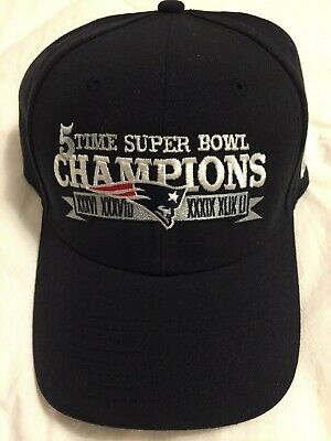 New England Patriots 5X Super Bowl Champions Hat Cap NFL Dark Blue NEW New  Era 62e24bd36
