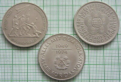 East Germany 1972, 1973, 1974 Lot 3 Various 10 Mark Coins