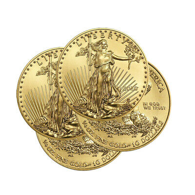Lot of 4 Gold 2019 Gold 1/4 oz Gold American Eagle $10 US Mint Gold Eagle Coins