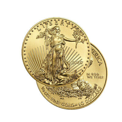 Lot of 2 Gold 2019 Gold 1/4 oz Gold American Eagle $10 US Mint Gold Eagle Coins
