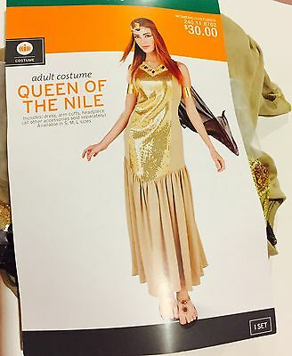 New Cleopatra Halloween Queen Of Nile Medium M Costume Women's  Gold Ships 1 Day
