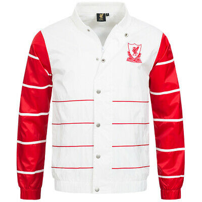 Liverpool FC Majestic Retro Striped College Jacke MLV1375WB Gr. M weiss/rot neu