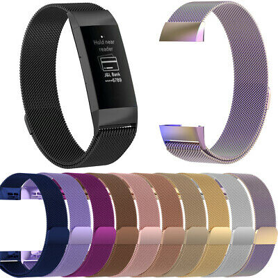 Band Wristband Stainless Steel Magnetic Milanese Strap For Fitbit Charge 3