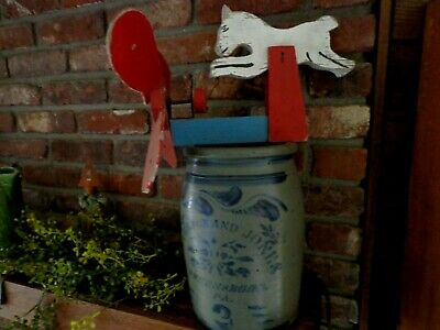 Early Antique Folk Art Whirligig Original Blue Red Old Vtg Primitive Paint Horse
