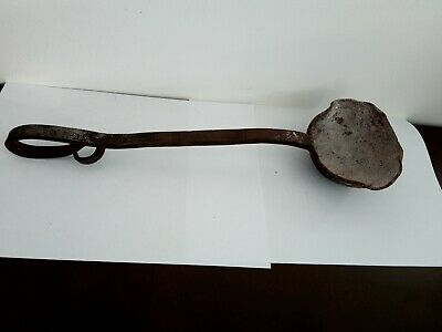 Antique large iron ladle for melting and casting lead or pewter